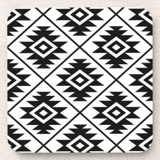 Aztec Symbol Stylized Big Ptn Black on White Coaster