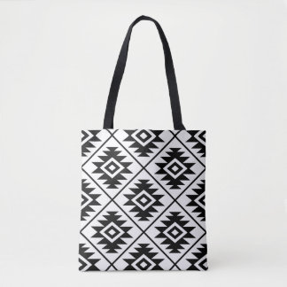 Aztec Symbol Stylized Big Ptn Black on White Tote Bag