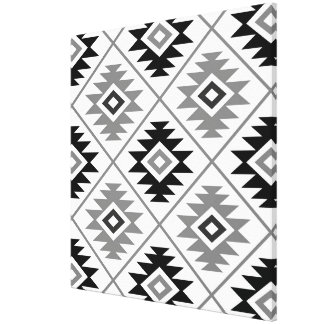 Aztec Symbol Stylized Big Ptn Black White Gray Canvas Print