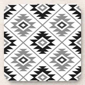 Aztec Symbol Stylized Big Ptn Black White Gray Coaster