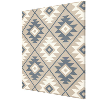 Aztec Symbol Stylized Big Ptn Blue Cream Sand Canvas Print