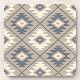 Aztec Symbol Stylized Big Ptn Blue Cream Sand Coaster
