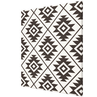 Aztec Symbol Stylized Big Ptn Brown on Cream Canvas Print