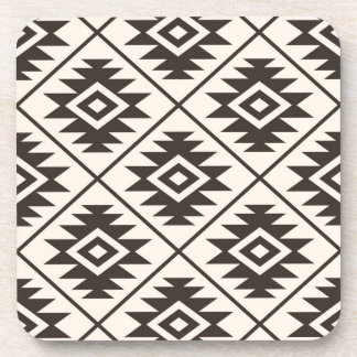 Aztec Symbol Stylized Big Ptn Brown on Cream Coaster