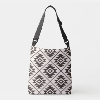 Aztec Symbol Stylized Big Ptn Brown on Cream Crossbody Bag