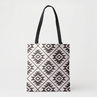 Aztec Symbol Stylized Big Ptn Brown on Cream Tote Bag