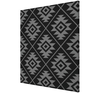 Aztec Symbol Stylized Big Ptn Gray on Black Canvas Print
