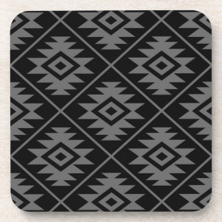 Aztec Symbol Stylized Big Ptn Gray on Black Coaster