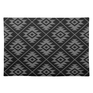 Aztec Symbol Stylized Big Ptn Gray on Black Placemat