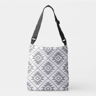 Aztec Symbol Stylized Big Ptn Gray on White Crossbody Bag