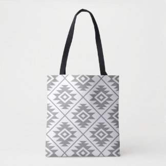 Aztec Symbol Stylized Big Ptn Gray on White Tote Bag