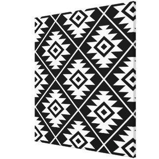 Aztec Symbol Stylized Big Ptn White on Black Canvas Print