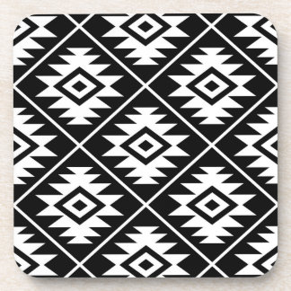 Aztec Symbol Stylized Big Ptn White on Black Coaster
