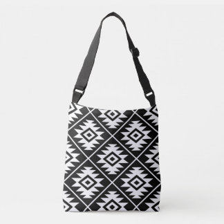 Aztec Symbol Stylized Big Ptn White on Black Crossbody Bag
