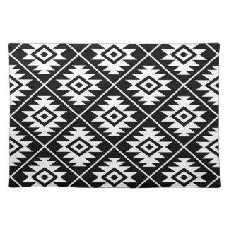 Aztec Symbol Stylized Big Ptn White on Black Placemat