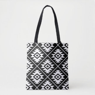 Aztec Symbol Stylized Big Ptn White on Black Tote Bag