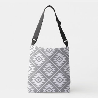 Aztec Symbol Stylized Big Ptn White on Gray Crossbody Bag