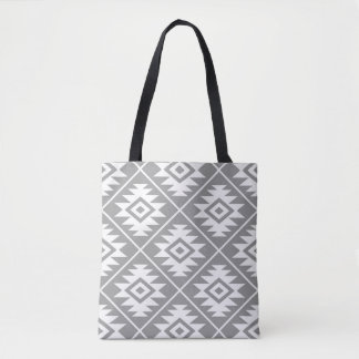 Aztec Symbol Stylized Big Ptn White on Gray Tote Bag