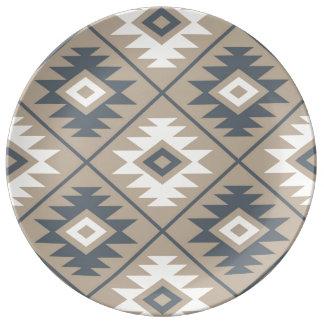 Aztec Symbol Stylized Lg Ptn Blue Cream Sand Plate