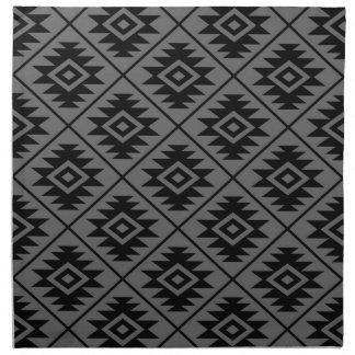 Aztec Symbol Stylized Pattern Black on Gray Napkin