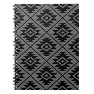 Aztec Symbol Stylized Pattern Black on Gray Notebook