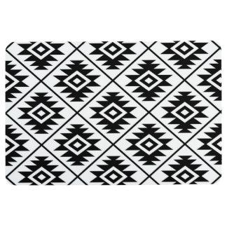 Aztec Symbol Stylized Pattern Black on White Floor Mat