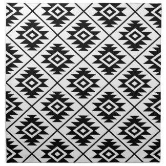 Aztec Symbol Stylized Pattern Black on White Napkin