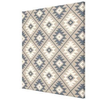 Aztec Symbol Stylized Pattern Blue Cream Sand Canvas Print