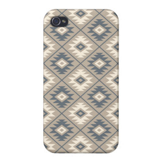 Aztec Symbol Stylized Pattern Blue Cream Sand iPhone 4/4S Case
