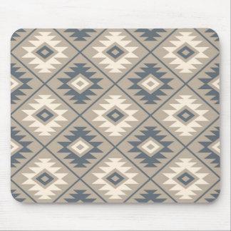 Aztec Symbol Stylized Pattern Blue Cream Sand Mouse Pad