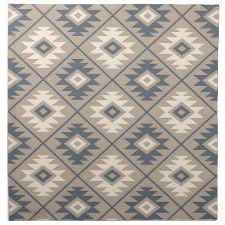 Aztec Symbol Stylized Pattern Blue Cream Sand Napkin