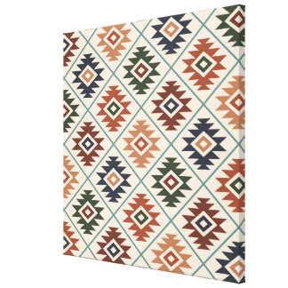 Aztec Symbol Stylized Pattern Color Mix Canvas Print