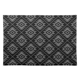 Aztec Symbol Stylized Pattern Gray on Black Placemat