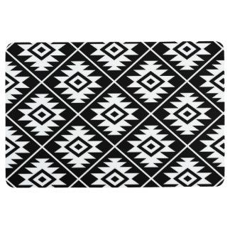 Aztec Symbol Stylized Pattern White on Black Floor Mat