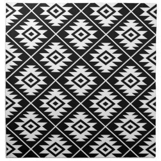 Aztec Symbol Stylized Pattern White on Black Napkin