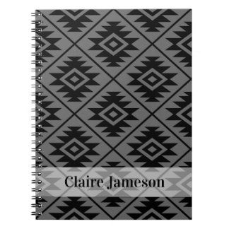 Aztec Symbol Stylized Ptn Blk on Gray (Name Band) Notebooks