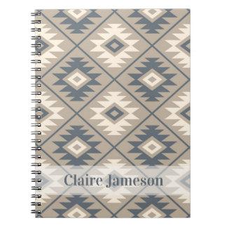 Aztec Symbol Stylized Ptn Blu Crm Sand (Name Band) Notebooks