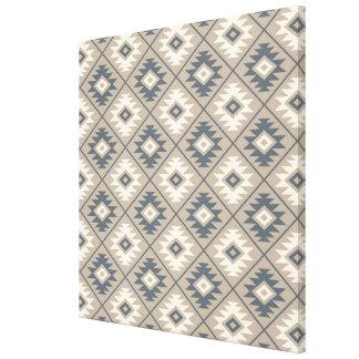 Aztec Symbol Stylized Rpt Pattern Blue Cream Sand Canvas Print