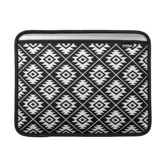 Aztec Symbol Stylized Rpt Pattern White on Black MacBook Sleeve