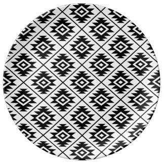 Aztec Symbol Stylized Rpt Ptn Black on White Plate