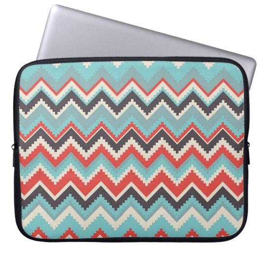 Aztec Tribal Chevron Zig Zag Pattern Red Blue Grey Laptop Sleeve