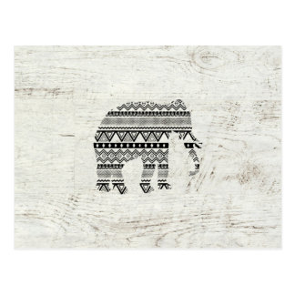 Aztec Tribal Elephant Black White Vintage Wood Postcard