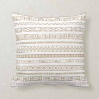 Aztec Tribal Ethnic Geometric Pattern Beige Taupe Cushion