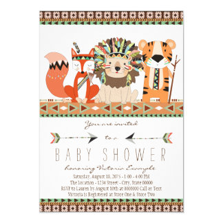 Aztec Tribal Fox Lion Tiger Baby Shower Card