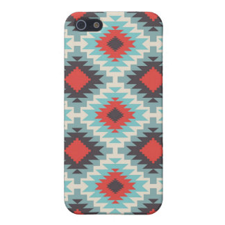 Aztec Tribal Native American Red Blue Pattern Cover For iPhone 5/5S