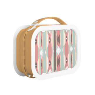 Aztec tribal native natural multi color boho chic lunch boxes