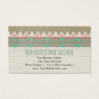 Aztec Tribal Native Pastel Peach/Aqua Business Card