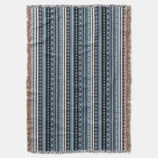 Aztec Tribal Pattern / Blue Grey White Black Throw