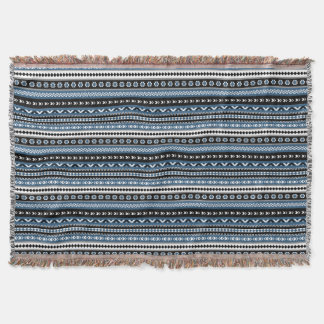 Aztec Tribal Pattern in Blue Grey White Black Throw Blanket