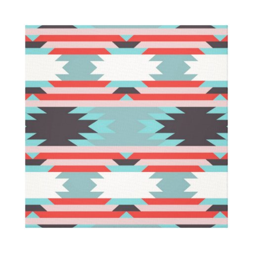 Aztec Tribal Pattern Native American Red Blue Stretched ...